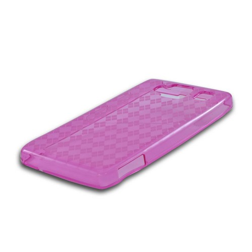 Motorola Droid RAZR MAXX HD Crystal Silicone Case - Argyle Hot Pink