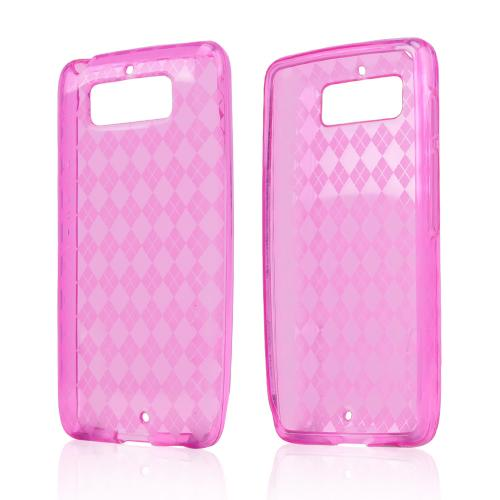 Argyle Hot Pink Crystal Silicone Skin Case for Motorola Droid Mini