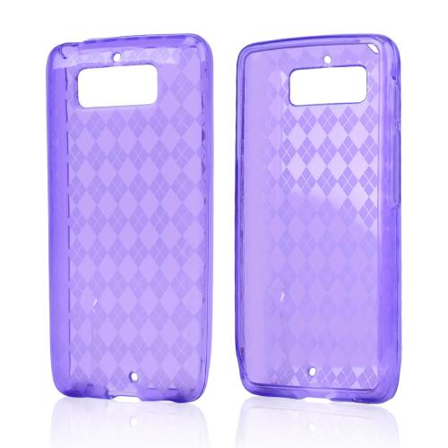 Argyle Purple Crystal Silicone Skin Case for Motorola Droid Mini