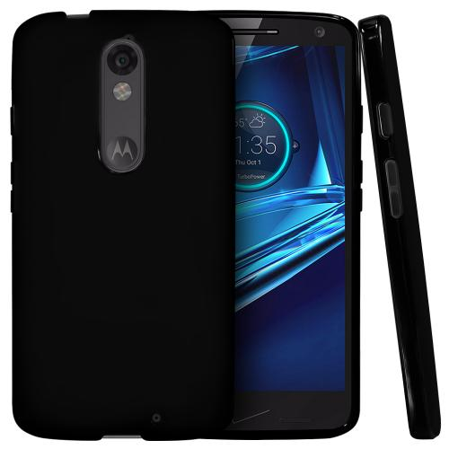 Manufacturers Motorola Droid Turbo 2 Case,  [Black]  Slim & Flexible Anti-shock Crystal Silicone Protective TPU Gel Skin Case Cover Hard Cases
