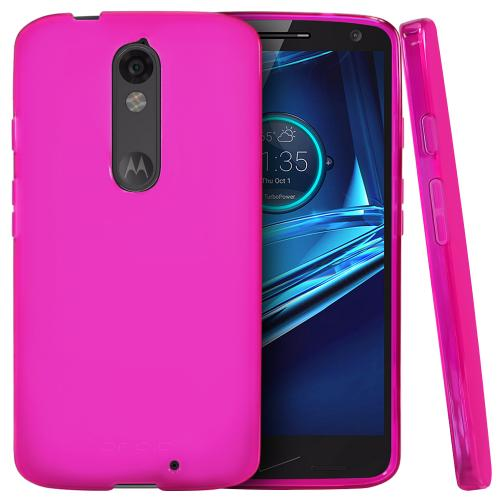 Motorola Driod Turbo 2 Case,  [Hot Pink]  Slim & Flexible Anti-shock Crystal Silicone Protective TPU Gel Skin Case Cover