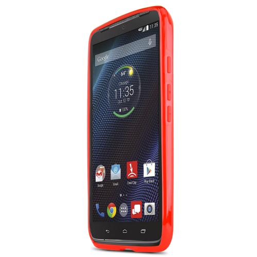 Motorola Droid Turbo Tpu Case [red / Clear] Protective Bumper Case W/ Flexible Crystal Silicone Tpu Impact Resistant Material