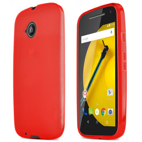 Red Motorola Moto E (2nd Gen.) Flexible Crystal Silicone TPU Case - Conforms To Your Phone Without Stretching Out!