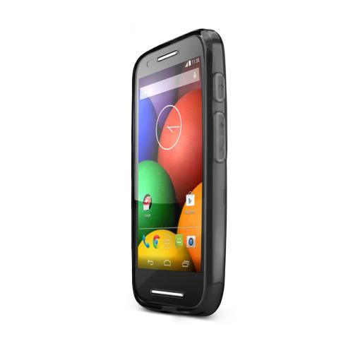 Black Motorola Moto E Flexible Crystal Silicone TPU Case - Conforms To Your Phone Without Stretching Out!