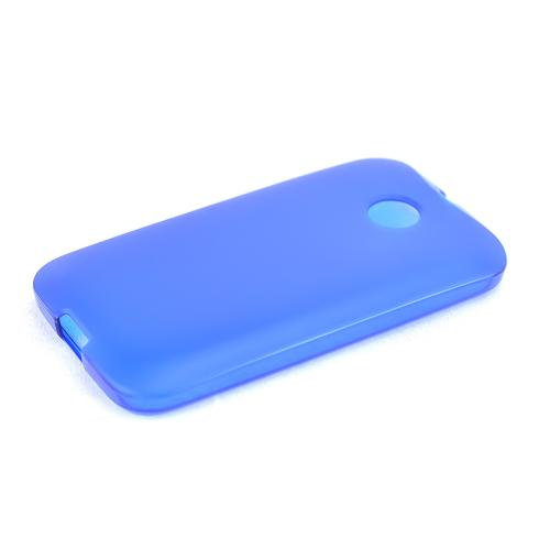 Blue Motorola Moto E Flexible Crystal Silicone TPU Case - Conforms To Your Phone Without Stretching Out!