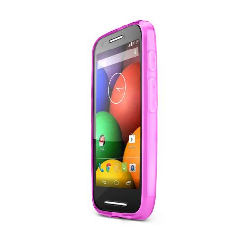 Hot Pink Motorola Moto E Flexible Crystal Silicone TPU Case - Conforms To Your Phone Without Stretching Out!