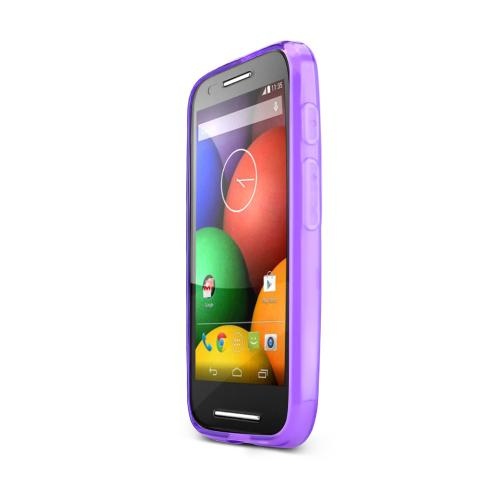 Purple Motorola Moto E Flexible Crystal Silicone TPU Case - Conforms To Your Phone Without Stretching Out!