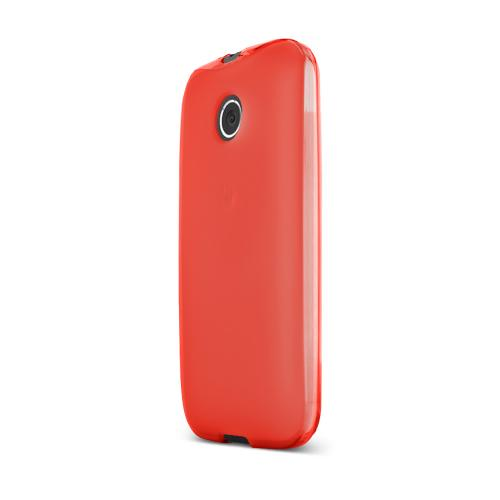 Red Motorola Moto E Flexible Crystal Silicone TPU Case - Conforms To Your Phone Without Stretching Out!