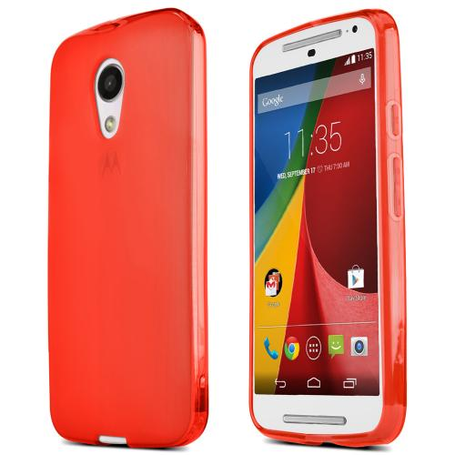 Motorola Moto G 2014 Tpu Case [red / Frost] Protective Bumper Case W/ Flexible Crystal Silicone Tpu Impact Resistant Material