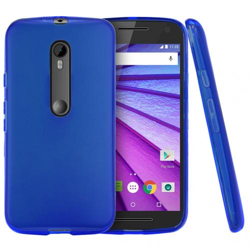 Motorola Moto G 2015 Case, [Blue] Slim & Flexible Crystal Silicone TPU Protective Case