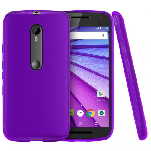 Motorola Moto G 2015 Case, [Purple] Slim & Flexible Crystal Silicone TPU Protective Case