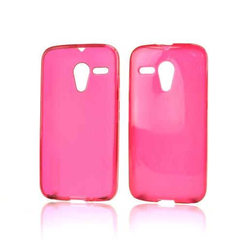 Hot Pink Crystal Silicone Skin Case for Motorola Moto G