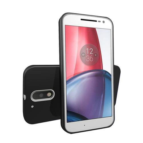 [Motorola Moto G4 Plus] 2016 (4th Gen.) Case, [Black] Slim & Flexible Anti-shock Crystal Silicone Protective TPU Gel Skin Case Cover