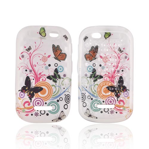 Motorola Clutch+ i475 Crystal Silicone Case - Multi Color Butterflies & Swirls on Frost White