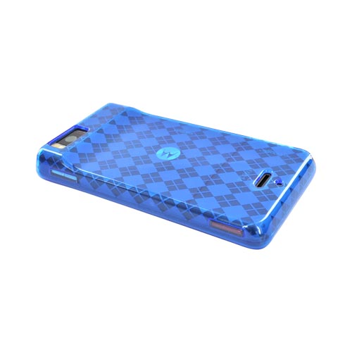 Luxmo Motorola Droid X MB810 Crystal Silicone Case - Transparent Blue Argyle Diamonds