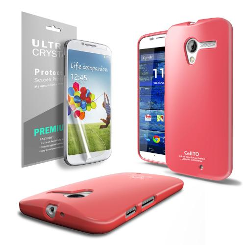 Hot Pink Anti-Slip TPU Crystal Silicone Skin Case & Free Screen Protector for Motorola Moto X