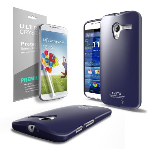 Navy Anti-Slip TPU Crystal Silicone Skin Case & Free Screen Protector for Motorola Moto X
