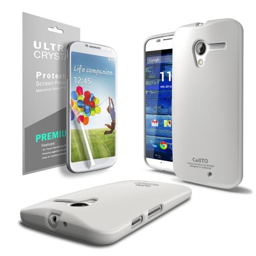 Solid White Anti-Slip TPU Crystal Silicone Skin Case & Free Screen Protector for Motorola Moto X
