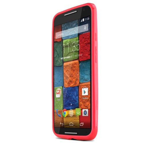 Motorola Moto X (2014) Skin [red/frost] Protective Bumper Case W/ Flexible Tpu Impact Resistant Material Perfect Fitting Motorola Moto X Case]