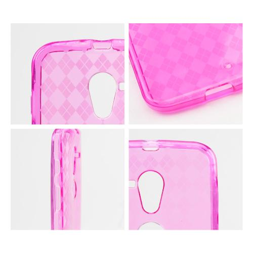 Argyle Hot Pink Crystal Silicone Skin Case for Motorola Moto X(2013 1st Gen)