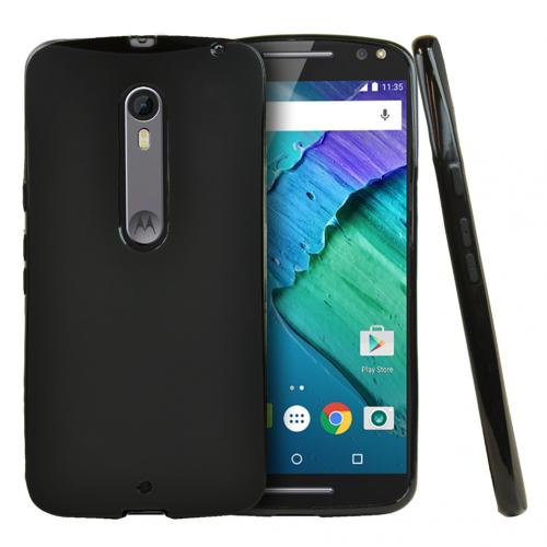 Motorola Moto X Pure Edition Case, [Black] Slim & Flexible Crystal Silicone TPU Protective Case