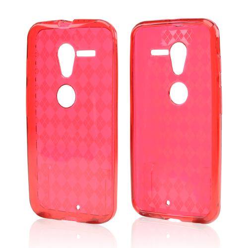 Argyle Red Crystal Silicone Skin Case for Motorola Moto X(2013 1st Gen)