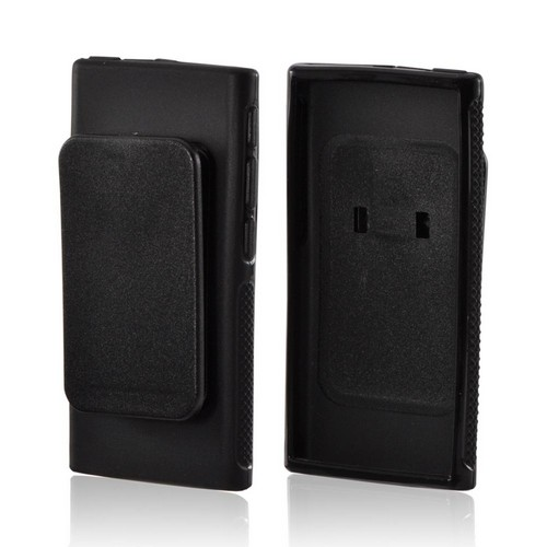 Black Crystal Silicone Case w/ Belt Clip for Apple iPod Nano 7