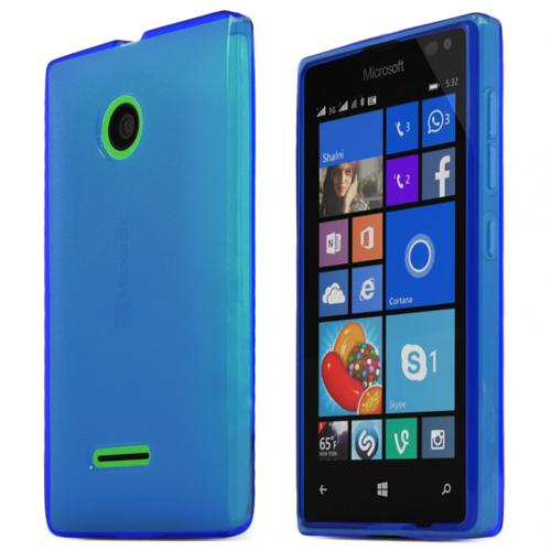 Nokia Lumia 435 Case, STANDARD BLUE Slim & Flexible Crystal Silicone TPU Skin Case Cover