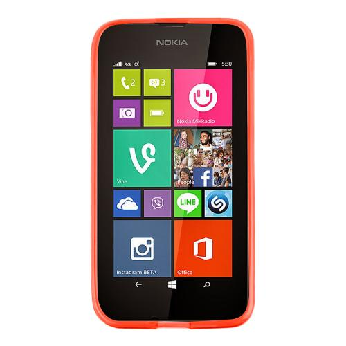 Red/ Frost Nokia Lumia 530 Flexible Crystal Silicone TPU Case - Conforms To Your Phone Without Stretching Out!