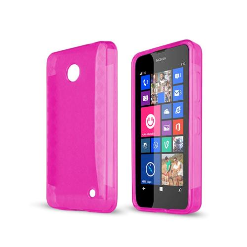 Manufacturers Argyle Hot Pink Nokia Lumia 635 Flexible Crystal Silicone TPU Case - Conforms To Your Phone Without Stretching Out! Skins