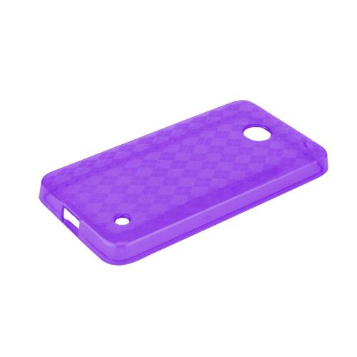 Argyle Purple Nokia Lumia 635 Flexible Crystal Silicone TPU Case - Conforms To Your Phone Without Stretching Out!