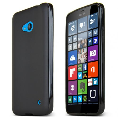 Nokia Lumia 640 Case, Black Slim & Flexible Anti-shock Crystal Silicone TPU Skin Protective Case for Lumia 640