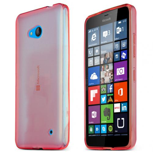 Nokia Lumia 640 Case, Red Slim & Flexible Anti-shock Crystal Silicone TPU Skin Protective Case for Lumia 640