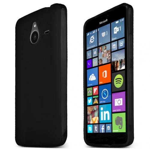 Nokia Lumia 640 XL Case, Black Slim & Flexible Anti-shock Crystal Silicone TPU Skin Protective Cover