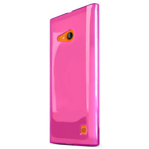Lumia 735 Case, [Hot Pink] Slim & Flexible Crystal Silicone TPU Skin Cover for Nokia Lumia 735