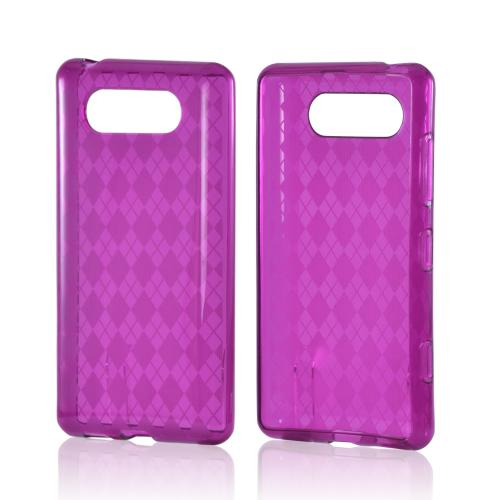 Purple Argyle Crystal Silicone Case for Nokia Lumia 820