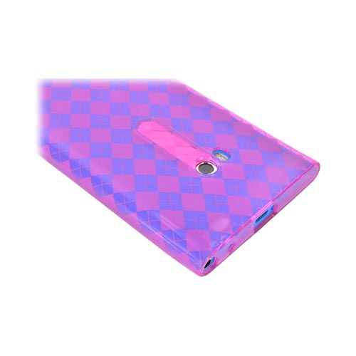 Nokia Lumia 900 Crystal Silicone Case - Argyle Hot Pink