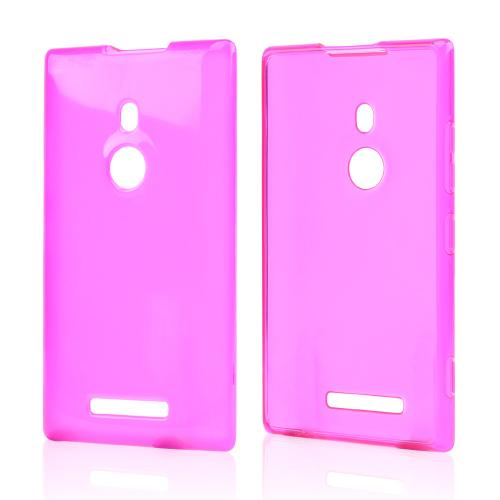 Hot Pink/ Frost Crystal Silicone Skin Case for Nokia Lumia 925
