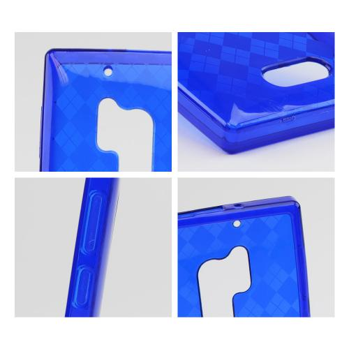 Argyle Blue Crystal Silicone Skin Case for Nokia Lumia 928