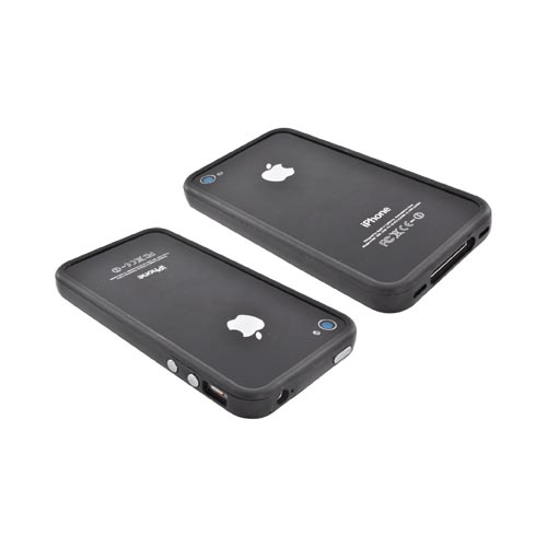 AT&T/Verizon Apple iPhone 4, iPhone 4S Crystal Silicone Bumper - Black