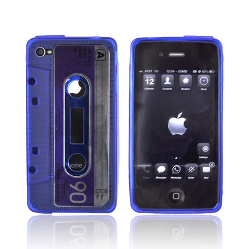 AT&T/ Verizon Apple iPhone 4, iPhone 4S Crystal Silicone Cassette Tape Design Case - Transparent Blue