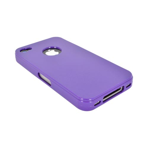 AT&T/ Verizon Apple iPhone 4, iPhone 4S Crystal Silicone Case - Purple w/ Metal Flake