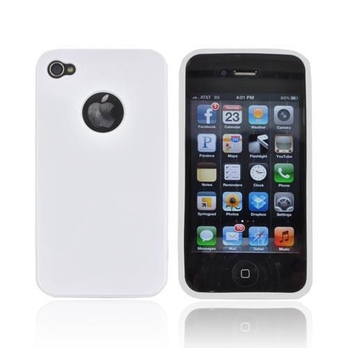 AT&T/ Verizon Apple iPhone 4, iPhone 4S Crystal Silicone Case - Solid White w/ Metal Flake