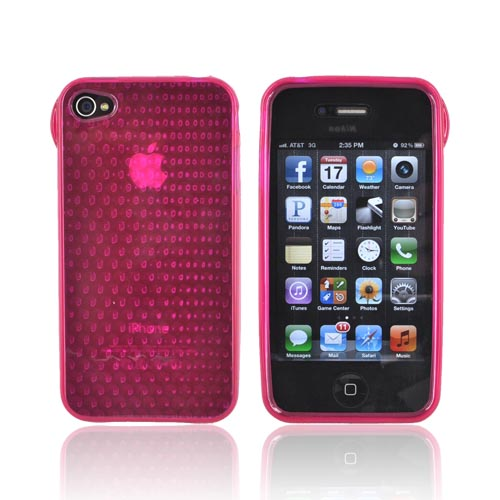 AT&T/ Verizon Apple iPhone 4, iPhone 4S Crystal Silicone Case - Hexagonal Magenta