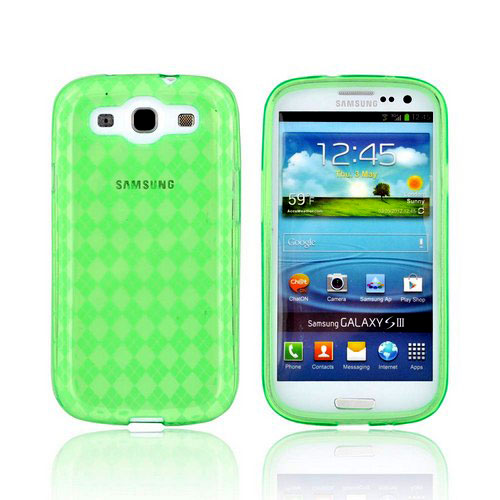 Samsung Galaxy S3 Crystal Silicone Case - Argyle Green