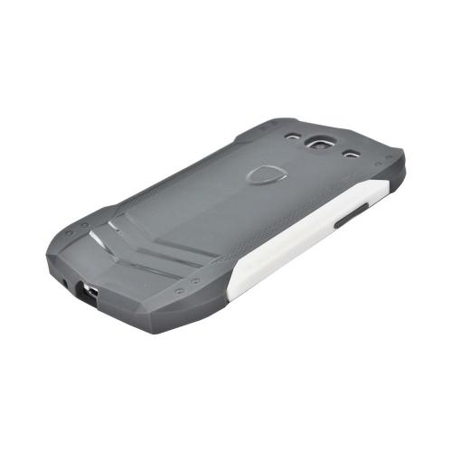 Samsung Galaxy S3 Crystal Silicone Autobahns Case w/ Interchangeable Sides - Gray/ White