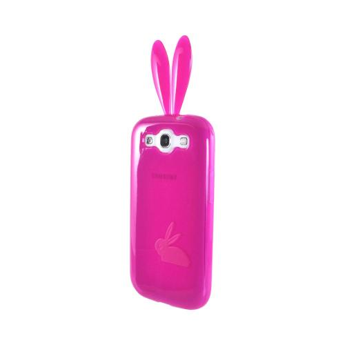 Samsung Galaxy S3 Crystal Silicone Case w/ Bunny Ears - Hot Pink