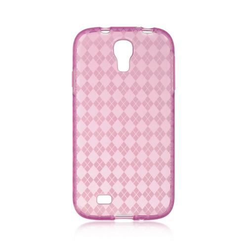 Hot Pink Argyle Crystal Silicone Case for Samsung Galaxy S4