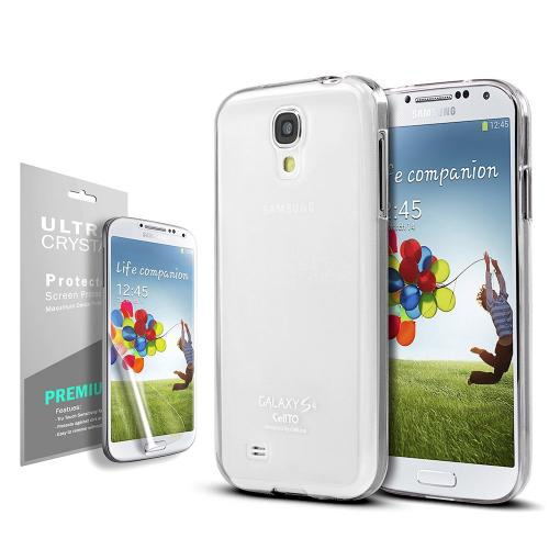 Solid White CellLine Anti-Slip TPU Crystal Silicone Skin Case & Free Screen Protector for Samsung Galaxy S4 Active