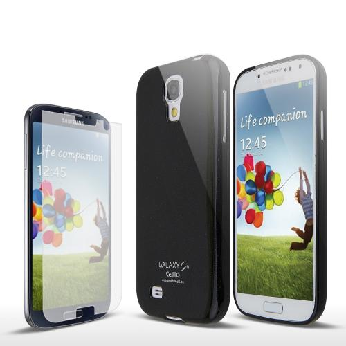 Black w/ Glitter Shimmer Exclusive Anti-Slip TPU Crystal Silicone Case + Free Screen Protector for Samsung Galaxy S4